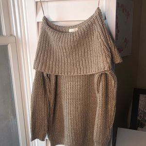 Off the shoulder tunic sweater with slits